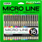 Micro-Line Ultra Fine Point Ink Pens - (SET OF 16) - Archival Ink - Highest Quality - Assorted Colours in 0.3 MM Felt Tip - 5 Blacks in Variety Tip Sizes 0.25MM to 0.5MM - Fine Point Permanent Markers