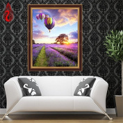 YGS-112 DIY 5D Full Diamonds Embroidery Diamond Mosaic Lavender flowers and hot-air balloon Round Diamond Painting Cross Stitch
