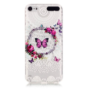 Wwwe® Ipod Touch 5 Case, Touch 6 case, Clear Soft Imitation Lace Cover for Ipod Touch 5/6 with a Phone Bracket and Anti-dust Plug