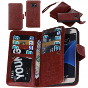 S7 Case, Premium Wallet Leather Credit Card Flip Folio Case by Juzi® - Detachable Magnetic Back Cover with Lanyard Wrist Hand Strap for G930 for Samsung Galaxy S7