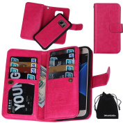 S7 Case, DRUnKQUEEn® Premium Leather Credit Card Holder Feature Wallet Type Flip Folio Case - Detachable Magnetic Back Cover with Lanyard Wrist Hand Strap for G930 Samsung Galaxy S7 - Rose