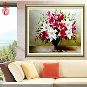 YGS-143 DIY 5D Diamonds Embroidery Lily Vase Round Diamond Painting Cross Stitch Kits Diamond Mosaic Home Decoration
