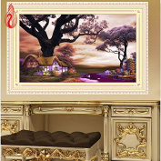 YGS-73 DIY 5D Diamonds Embroidery Landscapes Purple garden cottage Round Diamond Painting Cross Stitch Kits Home Decoration