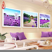 YGS-111 DIY 5D Diamonds Embroidery Three Lavender Landscape Magic cube Round Diamond Painting Cross Stitch Kits Diamond Mosaic