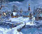 Diy oil painting, paint by number kit - Winter town Christmas gifts 16*50cm .