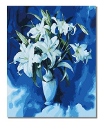 Diy oil painting, paint by number kit - Lily flower 16*50cm .