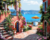 YEESAM ART New Release Paint by Number Kits for Adults Kids - Seaside Villa 41cm x 50cm Linen Canvas without Wooden Frame