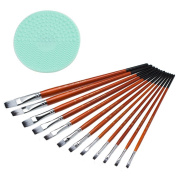 Karmax 12ct Professional Flat Tip Brush Set for Watercolour, Acrylic, Oil, Face Painting Supplies - Bonus 1 Brush Cleaner/ Scrubber