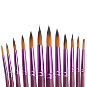 Mimgo Store 12Pcs Nylon Hair Flat/Tip Pointed Head Paint Brush Set Artist Watercolour Gouache Oil Painting Supplies