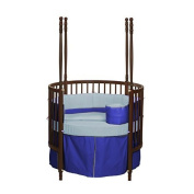 bkb Reversible Round Crib Bedding, Light Blue/Royal Blue
