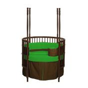 bkb Reversible Round Crib Bedding, Brown/Green