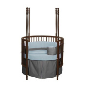 bkb Reversible Round Crib Bedding, Grey/Blue