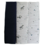 Lollypop Baby Neborn Swaddle Musling Blanket, Navy Blue