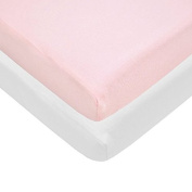 Pindaboo Fitted Mini Crib-Portable Crib Sheet,Pink & White
