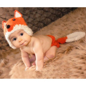 Lalawow Baby Photo Props Baby Girl Crochet Knitted Baby Outfits Costume Fox Hat and Nappy Cover