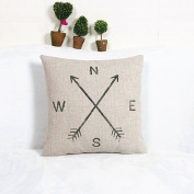 Compass Cotton Linen Square Vintage Throw Pillow Case Sofa Shell Cushion Cover Nice Gift
