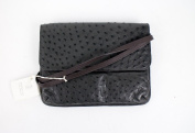 New. BRUNELLO CUCINELLI Black Luxurious Ostrich Leather Cross Body Bag