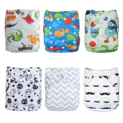 Baby Cloth Nappy, Angel Love Baby Reusable Washable All in one Size Cloth Pocket Nappies, Adjustable Snap, 6 Pcs + 12 Inserts, Gift Set, (Neutral Colour) 6BM08