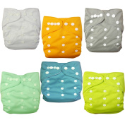 Baby Cloth Nappy, Angel Love Baby Reusable Washable All in one Size Cloth Pocket Nappies, Adjustable Snap, 6 Pcs + 12 Inserts, Gift Set,(Neutral Colour) 6BM98