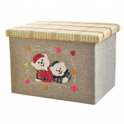 Toy Organiser Basket Polyester With Pretty Family Bears Storage Box Container