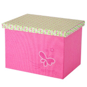 Sundries Makeup Basket Linen Twinkling Love Butterfly Pink Folding Storage Box Container
