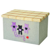 BIG Size Basket Linen Lovely Three Bears Folding Storage Box Container