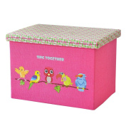 Clothing And Toy Makeup Basket Pink Linen With Birds Folding Storage Box Storage Container