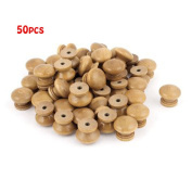 50Pcs Furniture Drawer Door Cabinet Closet Wood Round Knob Pull Handle-Small