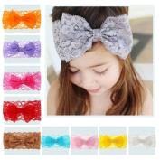 Novolix 10pcs Baby Girls Toddler Headbands Big Lace Bowknot Hair Wraps Colourful Child Headwear for Princess