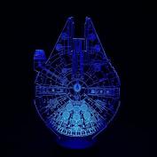 Star Wars Millennium Falcon 3D LED Night Light 7Colorful Atmosphere Lamp Novelty Lighting