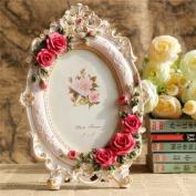 Picture Frame Resin White Vintage Style 13cm x 18cm Flower Pink Rose Oval For Wedding Gift Home Decor 1 Pcs