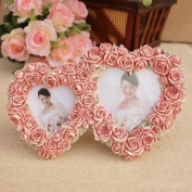 Picture Frame Resin Retro Style Hearts Pink Rose Flower For Wedding Gift Home Decor 1 Pcs