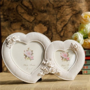 Picture Frame Resin Wedding Photo Frame White Two Hearts Shape With Roses Dual Picture Frame For Wedding Gift Home Decor 1 Pcs