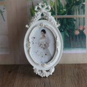 Picture Frame 10cm x 15cm Resin Handmade Oval Elegant White Photo Frame Luxury Design With Pearl For Wedding Gift Home Decor 1 Pcs