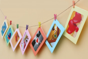 Sunflower Wall Deco DIY Hanging Paper Photo Frame with Mini Clothespins and Rope