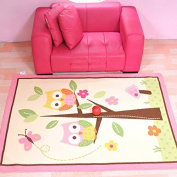 MBIGM Home Textile, Fashion Owl Kids Carpet Bedroom, Sweet Pink Rug, Comfortable Children's Rugs