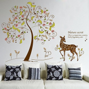 TT Marketing Tree and flower animal wall stickers Natural secert stickers Fawn wall decor Tree wall Decor Removable Wall Decor Decal Stickers for livingroom/gallery/family/office/study rooms decor