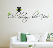 MAFENT Owl always love you cute nursery vinyl wall quotes art sayings stickers decals