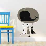 MAFENT Baby Children's Bedroom Decal Cats Cake Mouse Whale Dream Big Funny Cute Wall Stickers