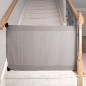 The Stair Barrier - Wall-to-Bannister Baby/Pet Gate - Heather Grey