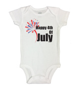 "Cute Patriotic Baby Onesie ""Happy 4th of July"" RB Clothing Co"