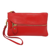 Women's Genuine Leather Purse Organiser Wallet Zip Coin Bag Wristlet Clutch Card Key Holder