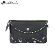 100% Real Leather Clutch Cross Body Black