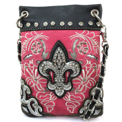Justin West Floral Embroidery Tooled Laser Cut Rhinestone Studded Fleur De Lis CrossBody Mini Handbag Phone Messenger Purse