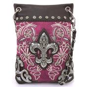 Justin West Floral Embroidery Tooled Laser Cut Rhinestone Studded Fleur De Lis CrossBody Mini Handbag Phone Messenger Purse