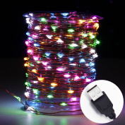 Innotree LED Fairy Lights, Waterproof String Lights USB Plug In for Bedroom Indoor Outdoor 10m Copper Wire 100 LED Bulbs Multi Coloured