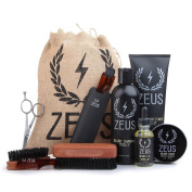 Zeus Ultimate Beard Care Kit Gift Set for Men - The Complete Beard Grooming Kit for Men for Softer, Touchable Beards (Beard Oil