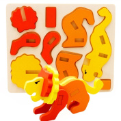 Branew 3D Three-dimensional Building Blocks Assembled Children's Educational Colourful Puzzles Animals Lion
