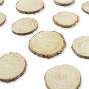 Mini Assorted Size Natural Colour Tree Bark Wood Slices Round Log Discs for Arts & Crafts, Home Hanging Decorations, Event Ornaments (5-8cm, 20pcs) by Super Z Outlet