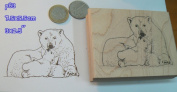 P83 Polar bear and cub rubber stamp